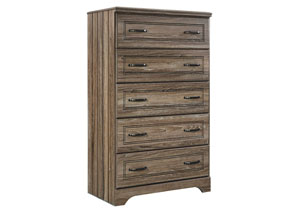 Javarin Grayish Brown Five Drawer Chest