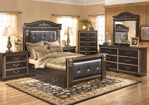 Coal Creek King Mansion Storage Bed w/Dresser, Mirror, Drawer Chest & Nightstand