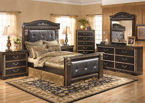 Coal Creek King Mansion Bed w/Dresser, Mirror & Drawer Chest