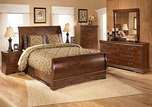 Wilmington Queen Sleigh Bed w/Dresser, Mirror & Drawer Chest