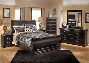 Esmarelda Queen Sleigh Bed w/Dresser, Mirror & Drawer Chest