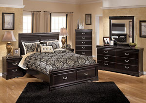 Esmarelda Queen Storage Bed w/Dresser, Mirror & Drawer Chest