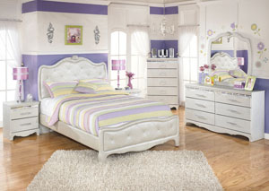 Zarollina Full Upholstered Bed w/Dresser, Mirror, Drawer Chest & 2 Nightstands