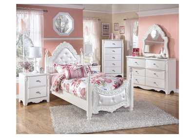 Exquisite Twin Poster Bed w/Dresser, Mirror, Drawer Chest & Nightstand
