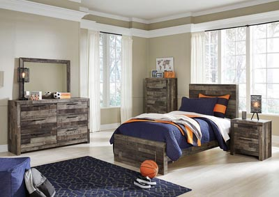 Derekson Multi Gray Twin Platform Bed w/Dresser & Mirror