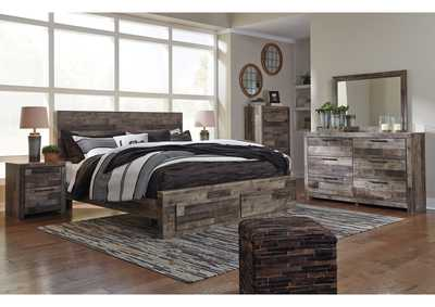 Derekson Multi Gray King Platform Bed w/Dresser & Mirror