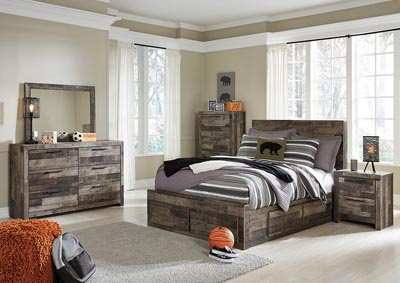 Derekson Multi Gray Full Storage Bed w/Dresser & Mirror