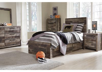 Derekson Multi Gray Twin Storage Bed w/Dresser & Mirror