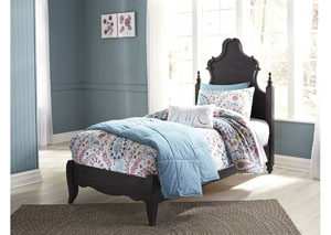 Corilyn Dark Brown Twin Poster Bed