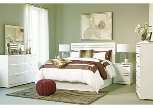 Brillaney White Queen/Full Panel Headboard w/Dresser & Mirror