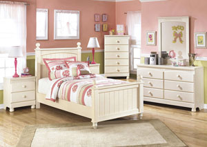 Cottage Retreat Twin Poster Bed w/Dresser, Mirror, Drawer Chest & 2 Nightstands
