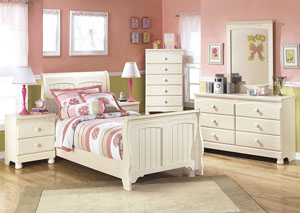 Cottage Retreat Twin Sleigh Bed w/Dresser, Mirror, Drawer Chest & Nightstand