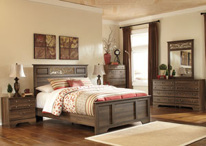 Allymore Queen Panel Bed w/Dresser, Mirror & Drawer Chest