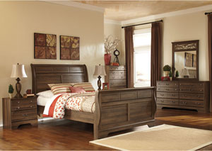 Allymore Queen Sleigh Bed w/Dresser, Mirror, Drawer Chest & Nightstand