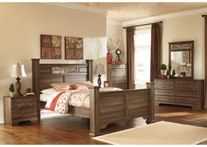Allymore Queen Poster Bed w/Dresser, Mirror & Drawer Chest