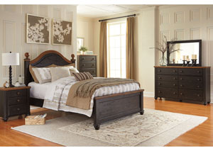 Maxington Two-Tone Queen/Full Poster Bed w/Dresser & Mirror