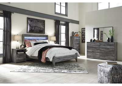Baystorm Gray Queen Panel Bed w/Dresser, Mirror, Drawer Chest & Nightstand