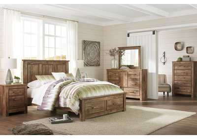 Blaneville Brown Queen Storage Platform Bed w/Dresser, Mirror, Drawer Chest and Nightstand