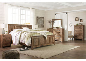 Blaneville Brown King Panel Bed w/Dresser, Mirror, Drawer Chest and Nightstand