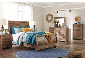 Blaneville Brown Queen Sleigh Bed w/Dresser, Mirror, Drawer Chest and Nightstand