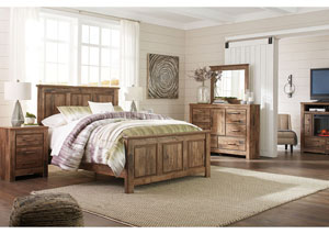 Blaneville Brown Queen Panel Bed w/Dresser, Mirror, Drawer Chest and Nightstand