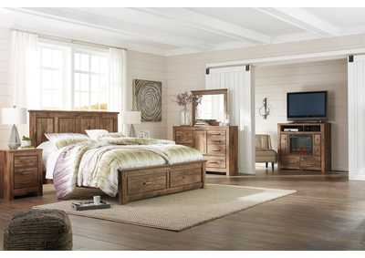 Blaneville Brown King Storage Platform Bed w/Dresser, Mirror, Drawer Chest and Nightstand