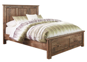 Blaneville Brown Queen Storage Platform Bed
