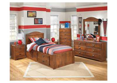 Barchan Twin Panel Storage Bed w/Dresser, Mirror & Drawer Chest