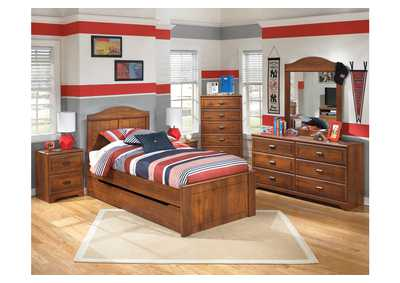 Barchan Twin Panel Bed w/Trundle, Dresser, Mirror, Drawer Chest & Nightstand