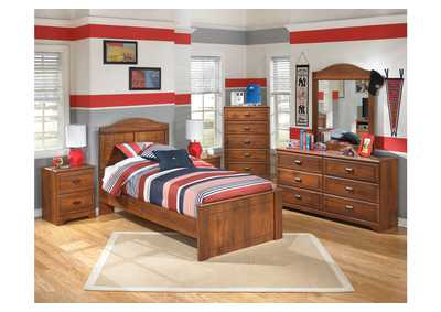 Barchan Twin Panel Bed w/Dresser, Mirror, Drawer Chest & 2 Nightstands