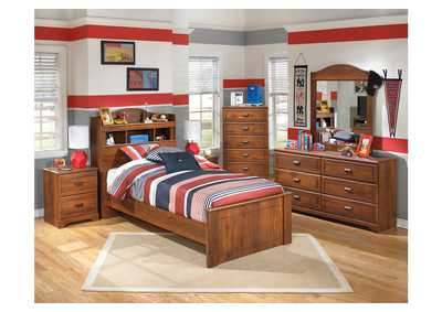 Barchan Twin Bookcase Bed w/Dresser, Mirror, Drawer Chest & Nightstand