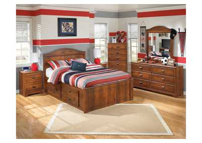 Barchan Full Panel Storage Bed w/Dresser, Mirror, Drawer Chest & Nightstand