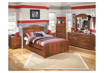 Barchan Full Panel Bed w/Trundle, Dresser, Mirror, Drawer Chest & Nightstand
