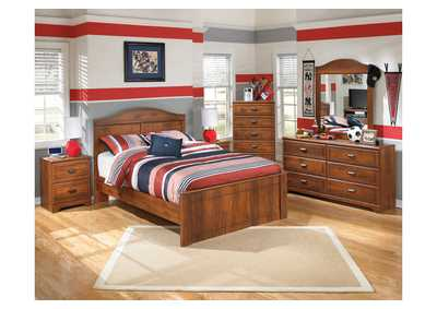 Barchan Full Panel Bed w/Dresser, Mirror & Drawer Chest