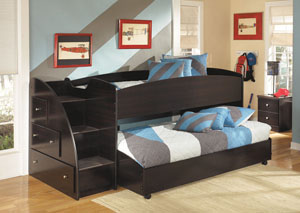 Embrace Twin Loft Bed w/Caster Bed & Storage Stairs
