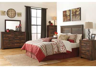 Quinden Queen Panel Headboard w/Dresser, Mirror & Drawer Chest
