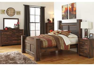 Quinden Queen Poster Bed w/Dresser, Mirror, Drawer Chest & Nightstand