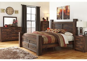 Quinden Dark Brown King Storage Poster Bed w/Dresser, Mirror, Drawer Chest & Nightstand