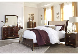 Lenmara Reddish Brown King Upholstered Bed w/Dresser, Mirror, Drawer Chest & Nightstand