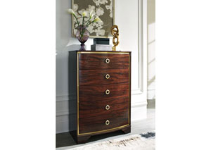 Lenmara Reddish Brown Five Drawer Chest