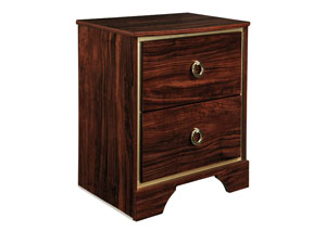 Lenmara Reddish Brown Two Drawer Night Stand