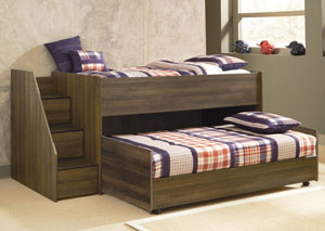 Juararo Twin Loft & Caster Bed Set w/Left Storage Steps