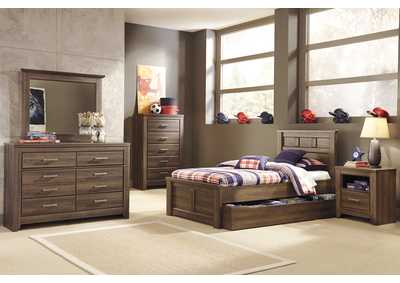 Juararo Twin Panel Storage Bed, Youth Dresser, Mirror, Chest & One Drawer Night Stand