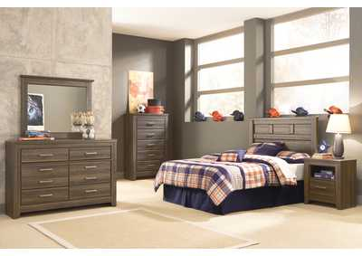 Juararo Full Panel Headboard, Youth Dresser, Mirror, Chest & One Drawer Night Stand