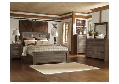Juararo California King Panel Bed w/Dresser, Mirror, Drawer Chest & Nightstand
