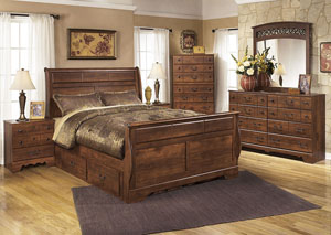 Timberline Queen Sleigh Storage Bed w/Dresser, Mirror & Drawer Chest