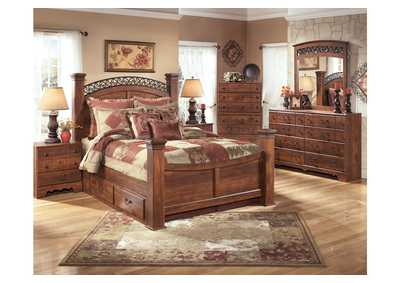 Timberline Queen Poster Storage Bed w/Dresser, Mirror & Drawer Chest