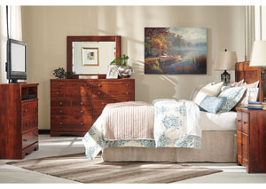 Brittberg Reddish Brown Queen/Full Panel Headboard w/Dresser, Mirror & Drawer Chest