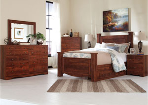 Brittberg Reddish Brown Queen Storage Poster Bed w/Dresser, Mirror and Nightstand