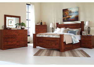 Brittberg Reddish Brown King Storage Poster Bed w/Dresser, Mirror and Nightstand